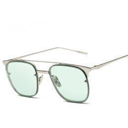 Wholesale Golden Beam - 2017 Newest Fashion Ladies Square Sunglasses Metal Frame Twin-Beams Sun Glasses Women Ocean Mirror Ladies Sunglasses UV400
