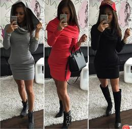 Wholesale Draped Hoodie - 1293 free shipping 2017 women's clothing fashion long sleeve hooded bodycon hoodies dress ladies autumn dresses jackets Vestidos Vestido