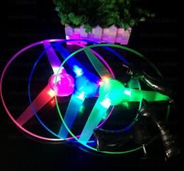 Wholesale Toy Ufo Flying Ships - Flash PULL Luminous Flying Saucer 25cm 3pcs Led Light UFO Children Flying Toys 65g 10pcs lot + Free Shipping