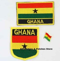 Wholesale Iron Patches Badge Flag - Free Shipping 3pcs set Ghana Flag Embroidery Iron on Patch+Flag Badge