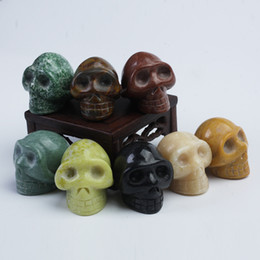 Wholesale Wholesale Statues Crystal - Wholesale HJT 8pcs Natural gemstone crystal skulls Carved Realistic multi Crystal Skull Reiki Crystal Healing Statue decoration Stone Skull