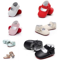 Wholesale Girls Summer Shoes Prewalker - 7 Colors Baby Girls Lace Bow Shoes Infant non-slip Kids Princess Pu Leather Soft Soled Solid Prewalker