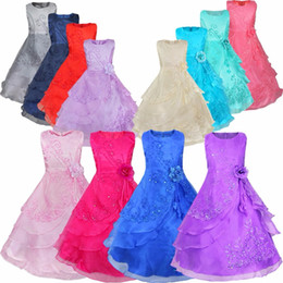 Wholesale European Chiffon - 2016 New Girl Dress with Hoop Inside Flower Embroidered Party Wedding Bridesmaid Princess Dresses Formal Children Clothes