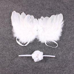 Wholesale Baby Wings Photo - Wholesale- 1 Set Baby Kid Toddler Newborn Infant Feather Lace Headband Angel Wings Flowers Outdoor Photo Prop Costume Hair Band Accessories