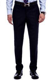 Wholesale Premium Pants - Wholesale-Navy Blue Twill Premium Herringbone Formal Pants For Men