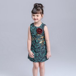 9573fee2f97070 cotton summer dresses europe 2019 - Europe Fashion Girls Floral Jacquard  Dress Kids Sleeveless Rose Sequins