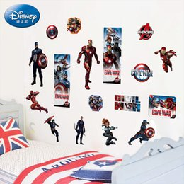 Wholesale Avenger Decals - 3D Avenger Wall Stickers Baby Kids Room Vinyl Stickers Cartoon Home Decor Decals Boy's Room Posters Art PVC Children Gift