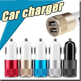Wholesale Amps Phone - Dual USB Port Car Charger best Metal Flash Nipple universal 12 Volt   1 ~ 2 Amp for Phone Apple iPhone iPad iPod Samsung Galaxy