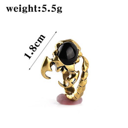 Wholesale Alien Rings - Plated copper vintage men children The Scorpion King ring Imitation black agate Profiled Alien ring giant claws Scorpion rings 2017 j193