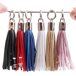 Wholesale Ring Data - Tassels Charging Data Cable line Portable Key Ring Micro USB V8 PU charger Bag Decoration Chain Sync Quick Charge Cords For Samsung CAB200