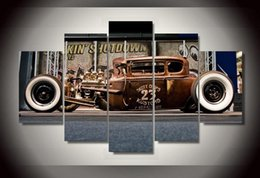 Wholesale Antique Impressionist Painting - 5Pcs With Framed Printed Antique classic car Group Painting room decor print poster picture canvas decoration animal oil paintings