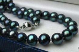 Wholesale Pearl Tahiti - Natürliche 8-9 mm schwarz Tahiti Perlenkette 46 cm