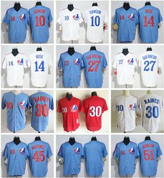 Wholesale Rose Shirts - Montreal Expos retro baseball jerseys #10 Dawson 14 Pete Rose 27 Guerrero 30 Tim Raines 45 Martinez 51 Randy Johnson embroidered shirt