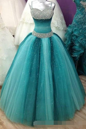 Wholesale Spaghetti Strap Prom Ball Gowns - 2017 Sweet 16 Long Floor Length Quinceanera A-Line with Spaghetti Straps Victoria Prom Gown Luxury Crystals Quinceanera Dress