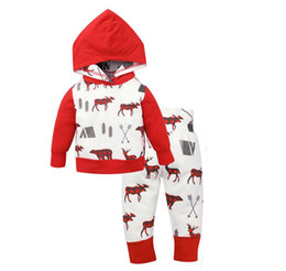 Wholesale Girls Christmas Winter Coat - Christmas Kids Hoodies Set Baby Boy Girl Coat Suits Sweatshirts Christmas Outfits Set Children Long Sleeve Clothes Sets Christmas Gifts