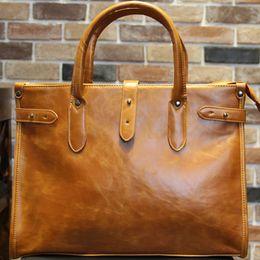 Wholesale File Key - Wholesale- KIBDREAM New Vintage Style PU Men Briefcase Bag Solid Office Men Business File Bag Laptop Handbag Fashion Coffee