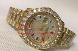 Wholesale Gold Diamond President Mens - Luxury Top Quality Watch 36mm DAY DATE President Big Diamond Bezel Bracelet 18k Gold Swiss ETA 2836 Movement Automatic Mens Watch Watches