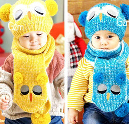 Wholesale Newborn Baby Owl - 2016 Autumn Winter New Baby Hats Knitted Cotton Cartoon Owl cap +Scarf Two Piece Sets 1-5T 9133