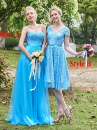 Wholesale Unique Country - Ice Blue Unique Country Style Bridesmaid Dresses 2016 Two Styles Long   Short Summer Maid of Honor Gowns A Line Formal Wedding Guest Dresses