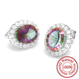 Wholesale Rainbow Vintage Charm - 6ct Concave Oval Genuine Mystical Fire Rainbow Topaz Earrings Stud Solid 925 Sterling Silver Gem Stone Vintage Gift For Women