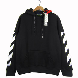 Wholesale Clothes Man Hoodies - OFF WHITE 2017 Men Hoodie Sweatshirt Brand Clothes Stripes Print Hip Hop Pullover Sweater Autumn Winter Fleece Hood Jacket Coat YBG0407