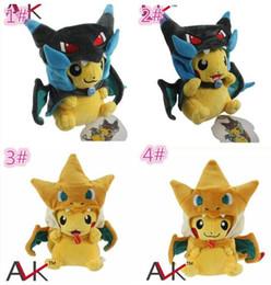 Wholesale Pokemon Charizard Plush - 50pcs 4designs Poke Center Mega Tokyo Pikazard Pikachu Charizard Magikarp Brinquedo Plush Toys Stuffed Doll plush toys gifts D859
