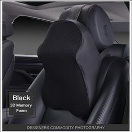 Wholesale Neck Restraints - High Quality Comfortable 3D Space Memory Foam Car Neck Pillow Head restraint in the car Headrest pillow automobile Auto neck pillow leather