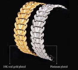 2019 bracelets en platine et or Haute qualité! Homme femme couple coeur bracelet or 18 carats / platine plaqué chunky belle montre bracelet bracelets bijoux de mode bracelets en platine et or pas cher