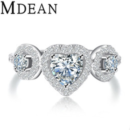 Wholesale Brilliant Silver White - Brilliant Heart Cut Simulated Diamond Wedding  engagement Ring Sets Size 6 7 8