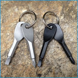Wholesale Keychain Rings Black - Multifunctional Pocket Tool Keychain Outdoor EDC Gear Keychains With Slotted & Phillips Head Mini Screwdriver Set Key Rings