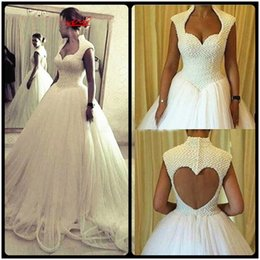 Wholesale Red Heart Wedding Dresses - Luxury Pearls Wedding Dress 2017 With Train Sweetheart High Neck Wedding Dresses Heart Backless Ball Gown Bridal Gown Tulle Bride Dress