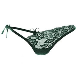 Wholesale Ladies Sexy Knickers - Wholesale-2016 Free size Green women Sexy Lace T-back g-string v-string Panty brief for Lady tanga bow knicker Strappy thongs panties girl