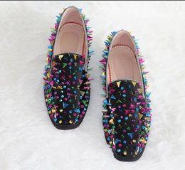 Wholesale Wedding Shoes Punks - Hot Fashion Mens Party Dress Shoes Wedding Shoes Slip-On Multi-color Rivets Punk Style Mens Flat Shoes LoafersShoes