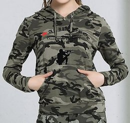 Wholesale Ladies Hooded Military - Spring 2016 Military Style Camouflage Hooded Tops Ladies Slim Fit Army Letters Printing Camo Pullovers Free Shipping