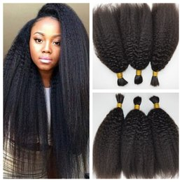 Wholesale Yaki Hair Braids - Peruvian Afro Kinky Straight Human Braiding Hair Bulk No Weft Italian Coarse Yaki Bundles Crochet Hair Extensions G-EASY