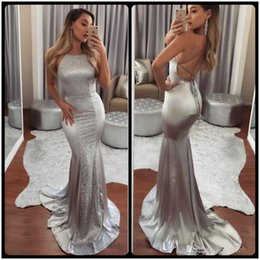 Wholesale Vestidos Sparkle - Sparkling Silver Mermaid Prom Dresses Long Sequined And Satin Low Back Criss Cross Straps Sexy Party Dresses Evening Wear Cheap Vestidos