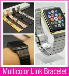 Wholesale Steel Butterfly Bracelets - Black Glod Link Bracelet Band For Apple Watch 3 and 2 42mm Crafted From 316L Stainless Steel Alloy With Butterfly Closure Watchbands