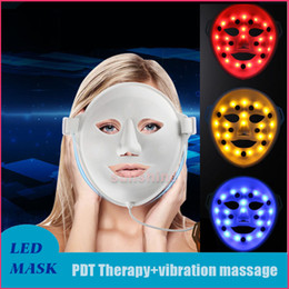 Led massage facial en Ligne-Masque facial de massage par vibration 3D 3Color Light Photon LED Masque facial électrique PDT Thérapie de rajeunissement de la peau Anti-Âge Acne Clearance Device