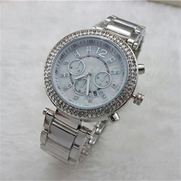 Wholesale Stainless Women Gold Watches - Luxury 2016 Famous designer women rhinestone watches fashion luxury Dress Michael ladies watch Imitation Conch Dial Ma'am Watches wholesale