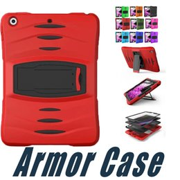Wholesale new ipad screen protector - Hybrid Shockproof Armor Case 3 Layer Rugged Silicone PC with Screen Protector For iPad 6 5 4 3 2 Mini 3 New iPad 2017 iPad Pro 9.7 10.5