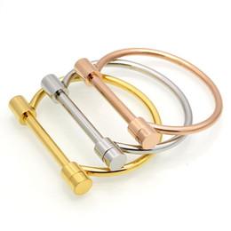 Wholesale Stainless Steel Shackles For Bracelets - High Quality 18K Gold Bangle Stainless Steel Fashion Shackle Screw Bracelet Cuff Bangles Bracelets For Women Love Bracelet