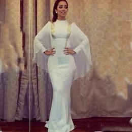 Белое золото кафтан онлайн-Белый и золотой Кафтан Русалка Вечерние платья с длинными рукавами высокого шеи платье знаменитости арабский Дубай Мириам Фарес Формальные вечерние платья