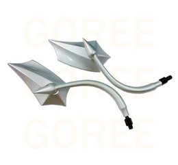 Wholesale Pole Motor - CURVED POLE SILVER Motorcycle Motorbike Motor Rearview Mirrors 10mm&8mm