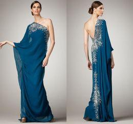 Wholesale Long Dresses Uk Online - Online Arabic Dresses Evening Wear One Shoulder Crystals Beaded Bling Prom Gowns Designer Dubai Styles Women Formal 2017 Dubai Cheap UK LH07
