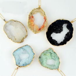 Wholesale Agate Crystal Geode - Natural Agate Geode Pendant Druzy Pierced Amethyst Crystal Charm Pendants Gold Plated Neckalce Pendant For Women