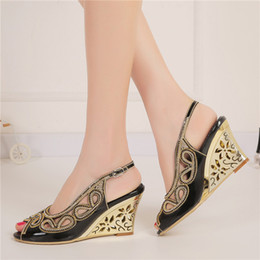 Wholesale Wedge Prom Heels - 2016 Sexy Summer Sandals Black Color Bridesmaid Shoes Peep Toe Women Dress Shoes Rhinestone Wedding Party Prom Shoes Wedge Heels
