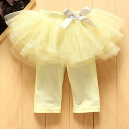 Wholesale Kids Skirted Leggings - New 2016 Fashion Baby Girl Culottes Leggings Gauze Pants Party Skirts Bow Tutu Skirts kids dress