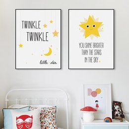 Wholesale Fashion Quote - Kawaii Minimalist Twinkle Stars Typography Quotes Art Print Poster Nursery Wall Kids Room Decor Picture Canvas Painting No Frame