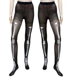 Wholesale Tattoos Lycra - Women's Gothic Punk Skeleton Tights Halloween Black Skeleton Bone Tattoo Pantyhose Stocking Tights for Female Leggings Pantyhose