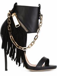 Wholesale Metal Stiletto Sandals - 2016 sexy party black pu stiletto heels open toe metal zipper ladies sandals long Tassels metal chain woman nightclub sandals